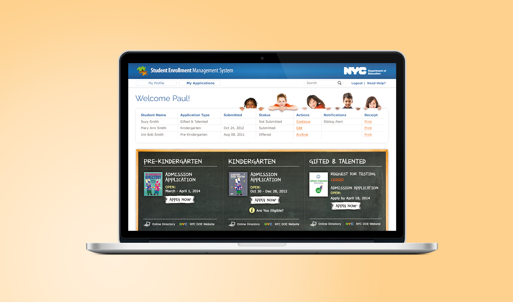Vanguard - Online Enrollment Tool for the NYC Department of Education